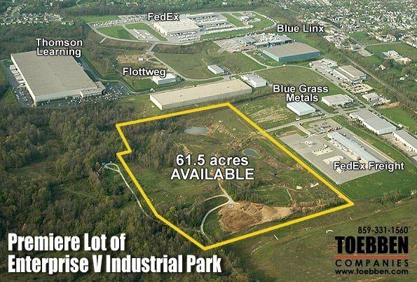 Close upview of the new available acreage in Enterprise V Industrial Park